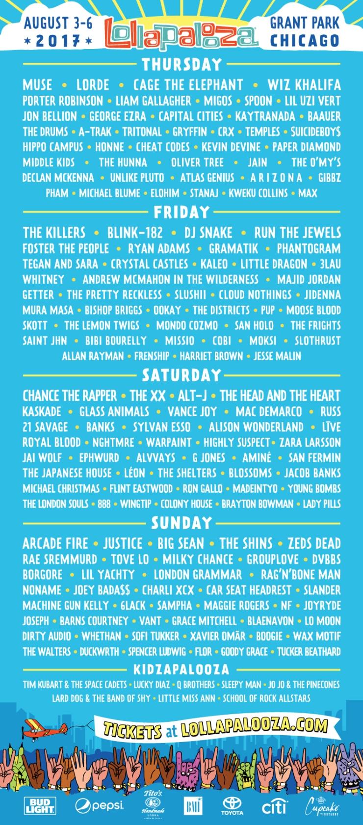 Lollapalooza Lineup 2017